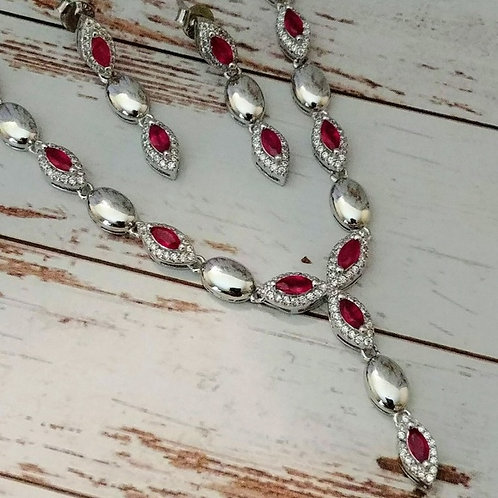 Natural Ruby Necklace & Earring Set