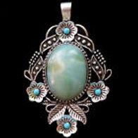 Amazonite & Turquoise Tibetan Silver Pendent