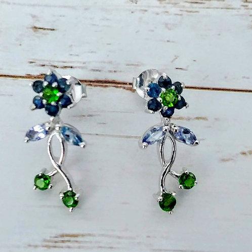 Sapphire Floral Sterling Earrings