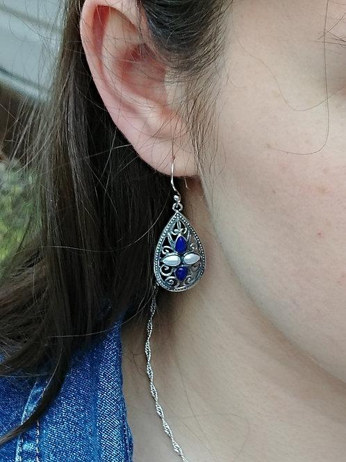 Lapis & Pearl Sterling Silver Earrings