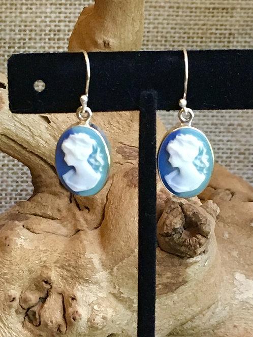 Blue Tone Cameo Earrings