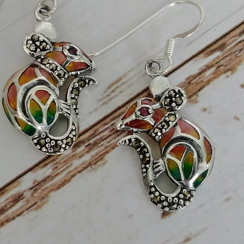 Colorful Marcasite & Sterling Mouse Earrings