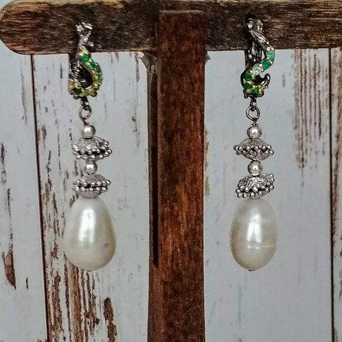 Akoya Pearl & Emerald Earrings
