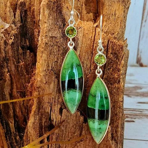 Rare South African TransVaal Jade Earrings