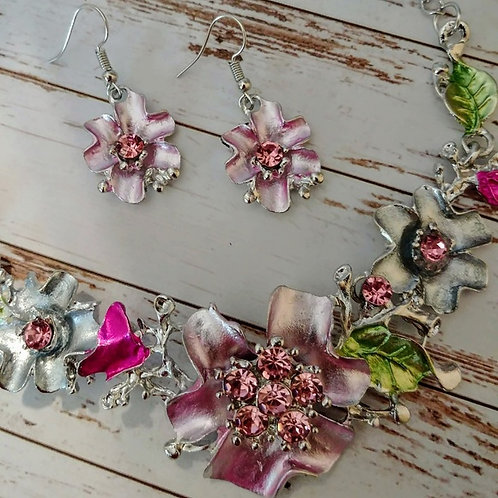 Spring Floral Necklace & Earring Set