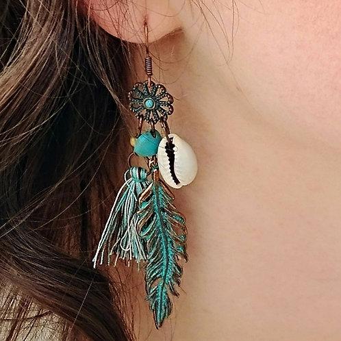 Antique Copper Charm Earrings