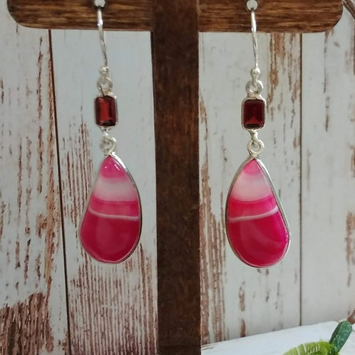 Pink Botswana Agate & Garnet Earrings