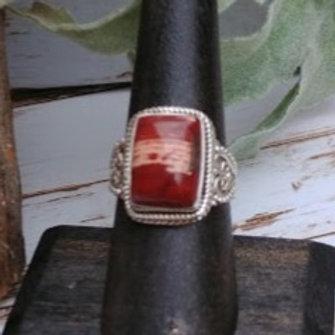 Red Snakeskin Jasper Ring
