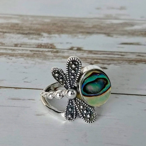 Abalone Shell Dragonfly Ring