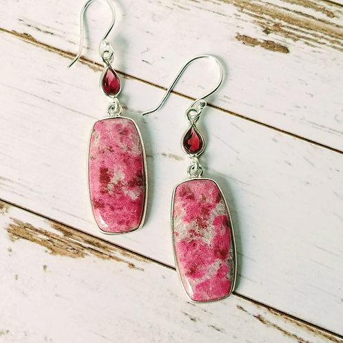 Pink Thulite & Garnet Earrings