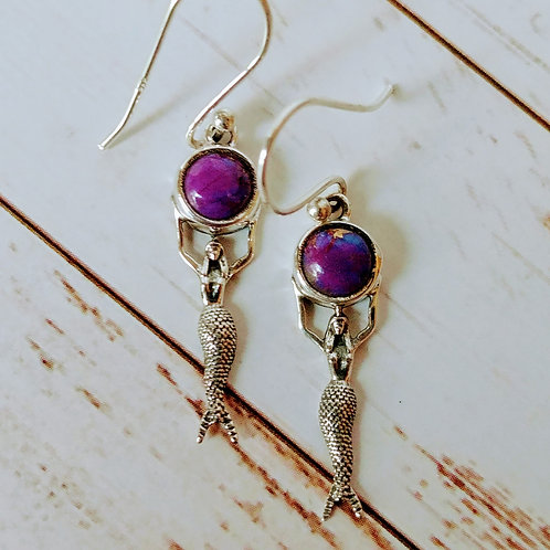 Purple Copper Turquoise Mermaid Sterling Earrings