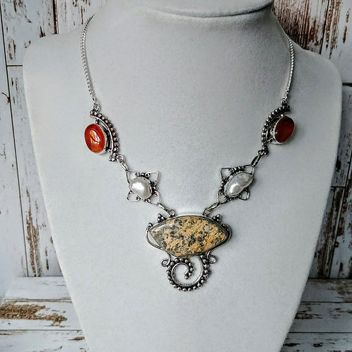 Leopard Skin & Pearl Necklace