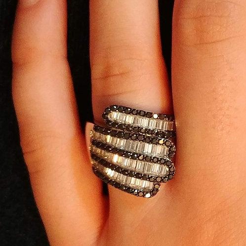 Black Onyx & CZ Baguette Ring