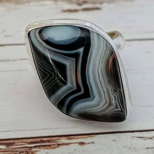 Black Botswana Agate Sterling Ring