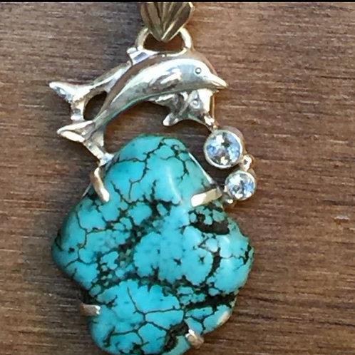 Arizona Turquoise Dolphin Pendent