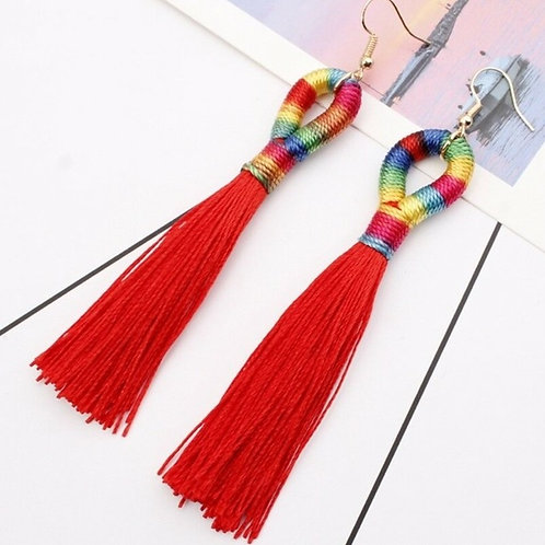 Red Rainbow Silk Tassel Earrings