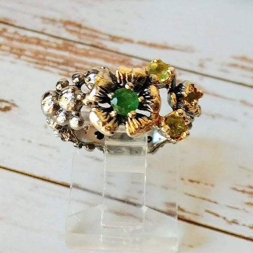 Kali Artist Original Emerald & Peridot Floral Ring