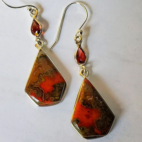 Moroccan Seam Agate & Garnet Earrings