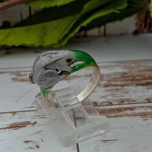 Artisan Sterling & Enamel Rabbit Ring