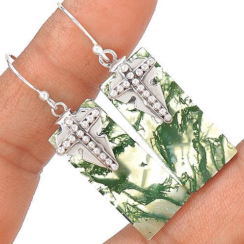 Moss Agate Sterling Cross Earrings