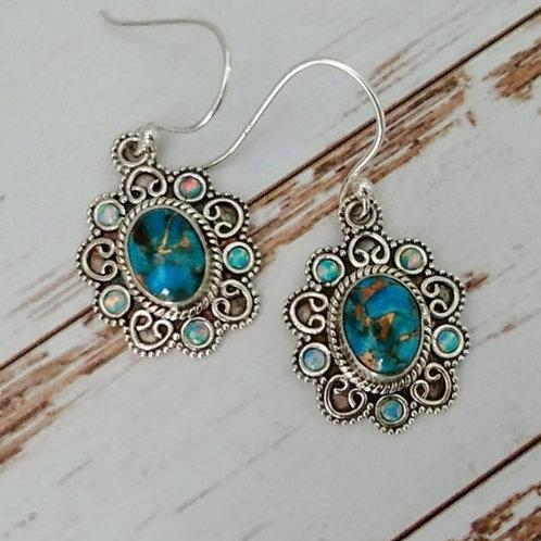 Blue Copper Turquoise & Opal Earrings