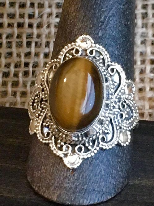GoldenTiger Eye Filigree Ring