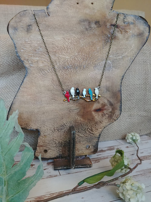 Colorful Bird Perch Necklace