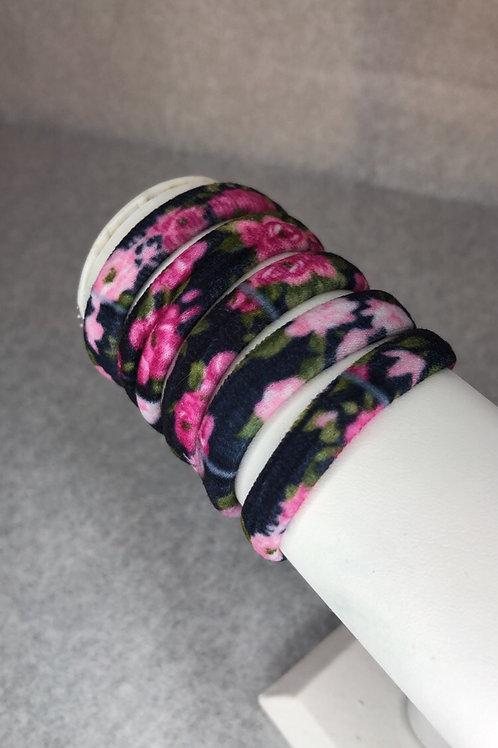 5 Pack Black Floral Cloth Hair Tie