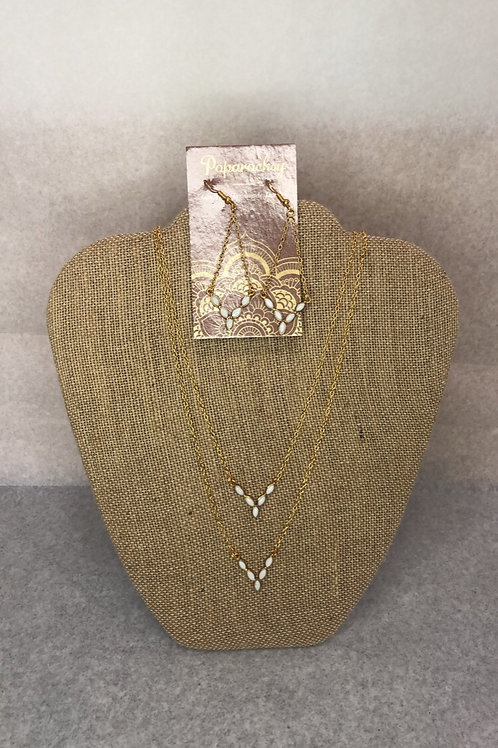 White Stoned Earrings and Layered Duo Necklace