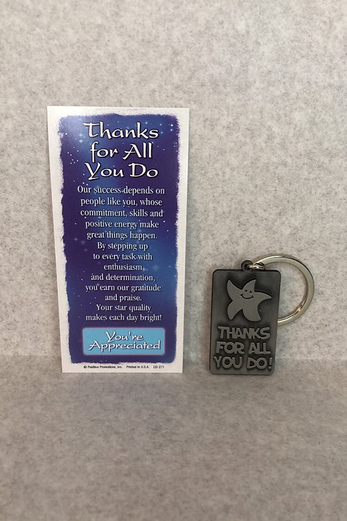 'Thanks for all you do' Star Key Chain