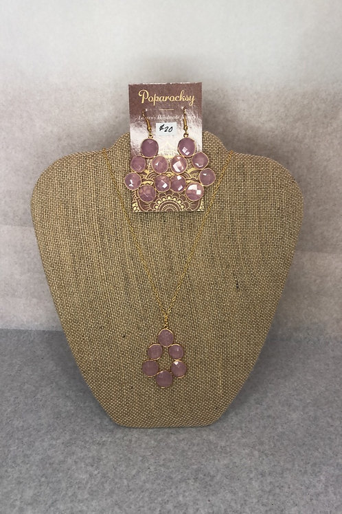 Soft Pink Stoned Earrings and Necklace