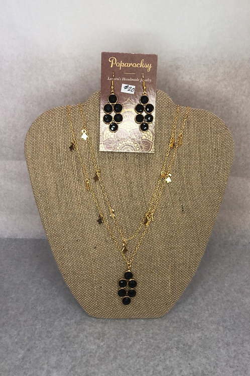 Black Stoned Earrings and Layered Necklace