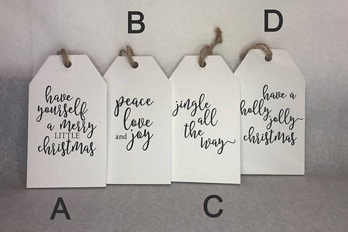 Wooden Tag Christmas Ornaments