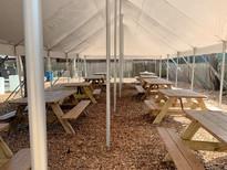 underneath the tent in the beer garden
