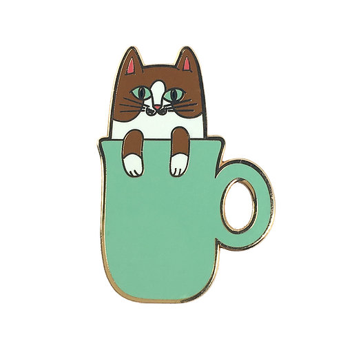 COFFEE CATS Vanilla Latte Cat Enamel Pin
