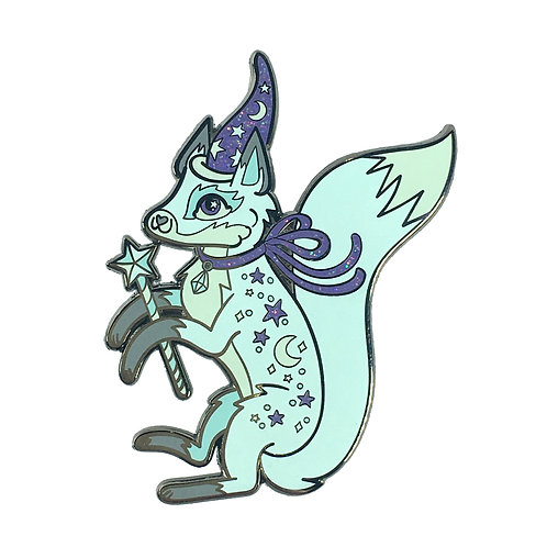 Fanciful Fox Magical Icy Blue Pin