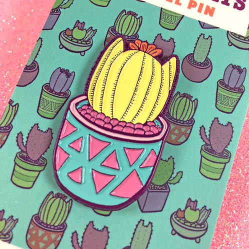 Yellow Cactus Cat Enamel Pin