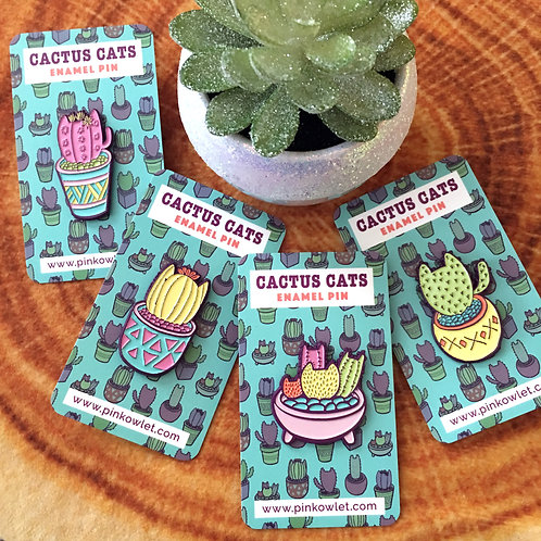 Cactus Cats Enamel Pin Collection