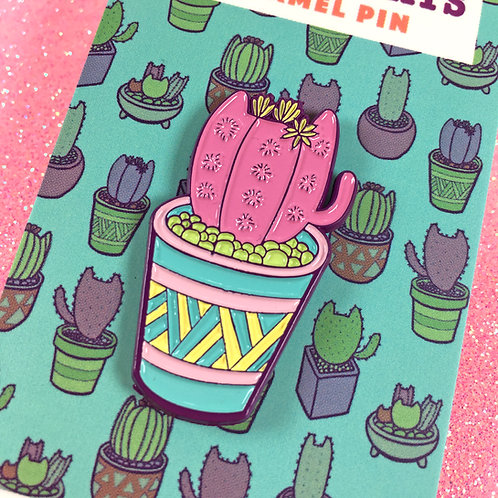Pink Cactus Cat Enamel Pin