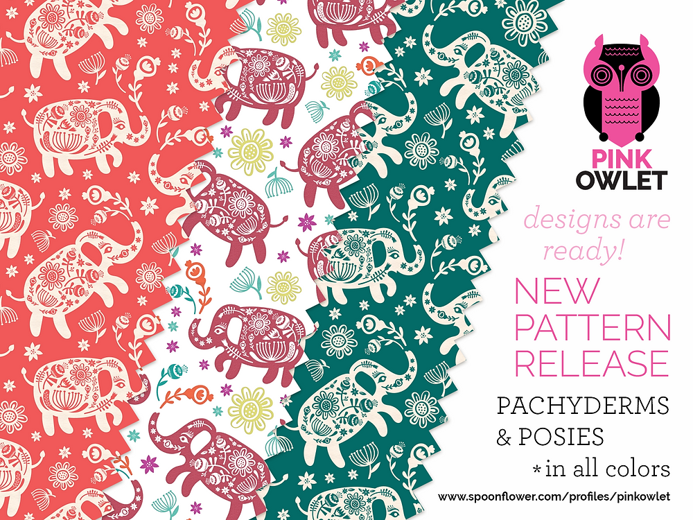 New Pattern Release! Pachyderms & Posies!