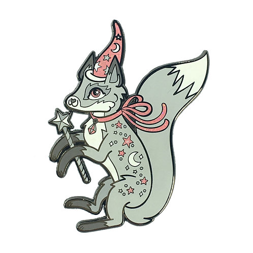 Fanciful Fox Pink and Grey Enamel Pin