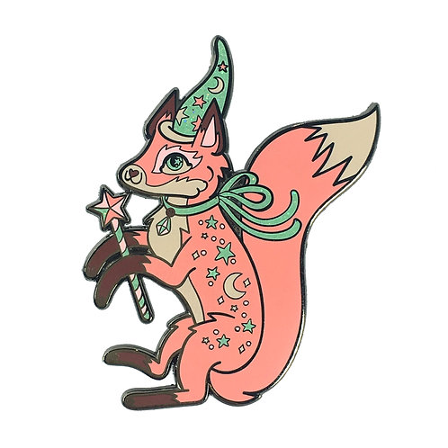 Fanciful Fox Pink and Mint Enamel Pin