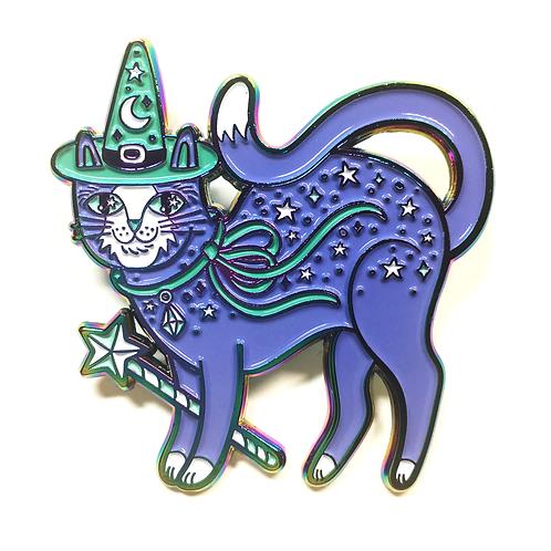 Kitty Witch Rainbow Metal Enamel Pin
