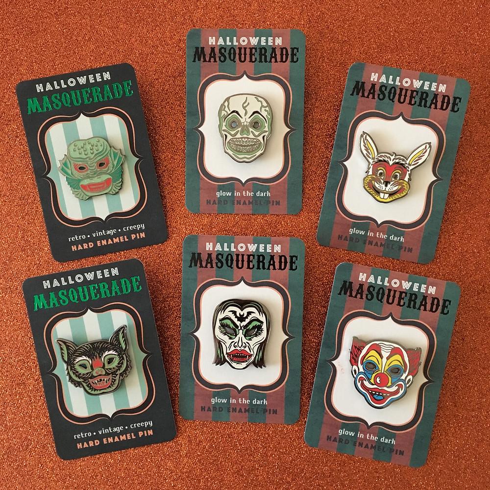 Hallowen Masquerade Pin Set