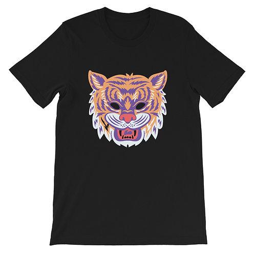 Masquerade Retro Tiger Black Short-Sleeve Unisex T-Shirt