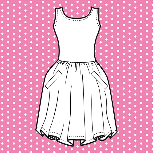 Pink Owlet Skater Dress with Pockets