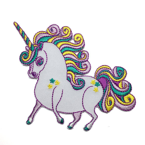 White Prancing Ponycorn Iron-on Patch