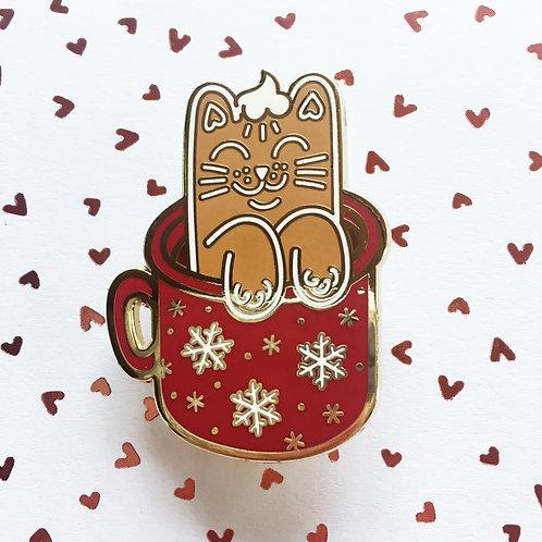 Gingerbread Latte Cat Enamel Pin