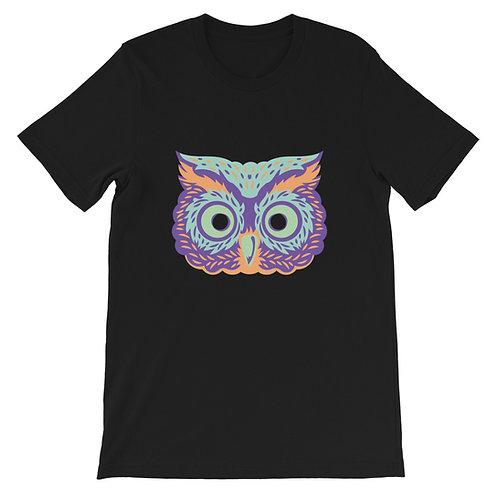Masquerade Retro Owl Black Short-Sleeve Unisex T-Shirt