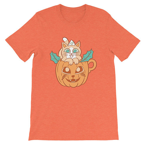 Pumpkin Spice Latte Cat Short-Sleeve Unisex T-Shirt